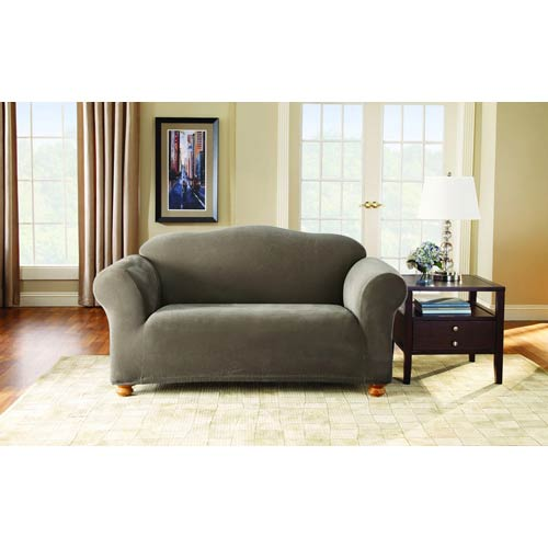 Taupe Stretch Pique Loveseat Slipcover