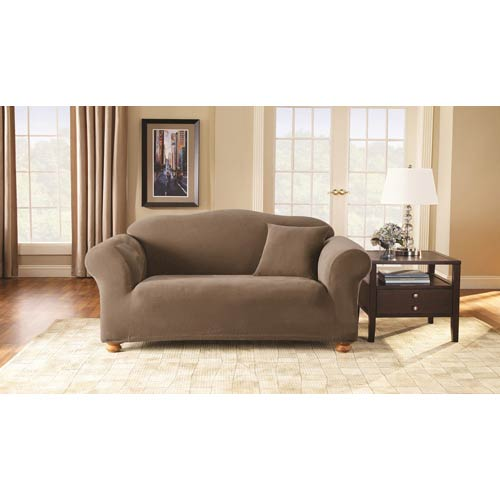 Sure Fit Taupe Stretch Pique Sofa Slipcover
