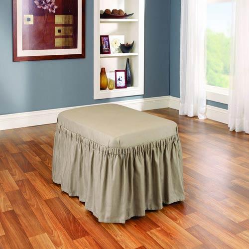 Sure Fit Linen Cotton Duck Ottoman Slipcover