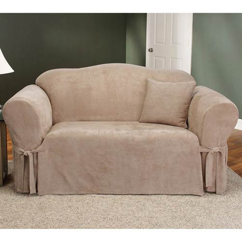 Sure Fit Taupe Soft Suede Loveseat Slipcover