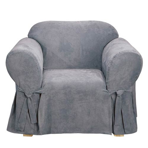 Smoke Blue Soft Suede Chair Slipcover