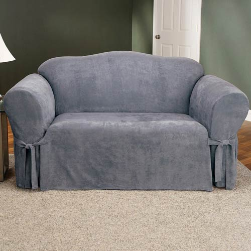 Superieur Sure Fit Smoke Blue Soft Suede Sofa Slipcover