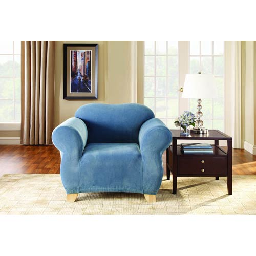 Federal Blue Stretch Pique Chair Slipcover