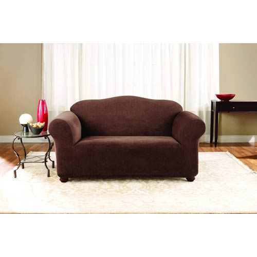Sure Fit Chocolate Stretch Pique Loveseat Slipcover