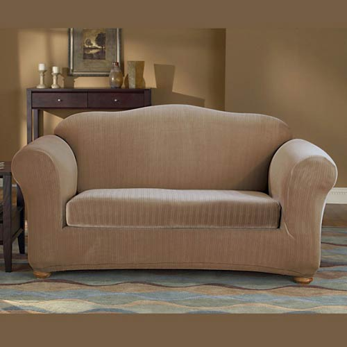 Taupe Stretch Pinstripe Sofa Slipcover