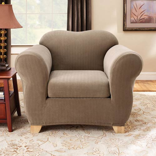 Taupe Stretch Pinstripe Chair Slipcover