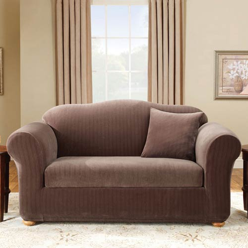 Sure Fit Chocolate Stretch Pinstripe Loveseat Slipcover 47293373886