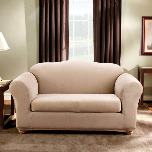 Sure Fit Sand Stretch Stripe Loveseat Slipcover