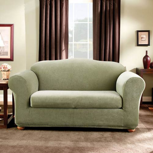 Sage Stretch Stripe Sofa Slipcover