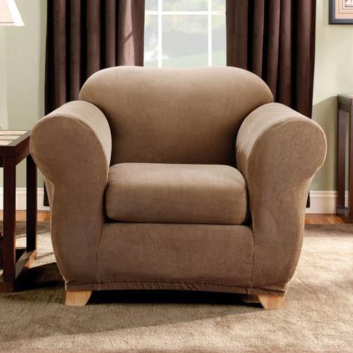 Brown Stretch Stripe Chair Slipcover