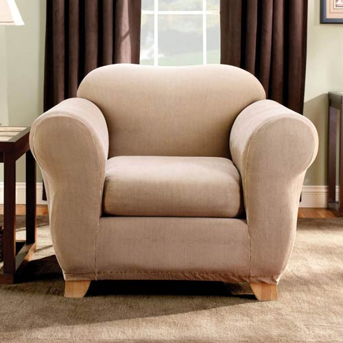 Sure Fit Sand Stretch Stripe Chair Slipcover