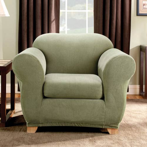 Sage Stretch Stripe Chair Slipcover