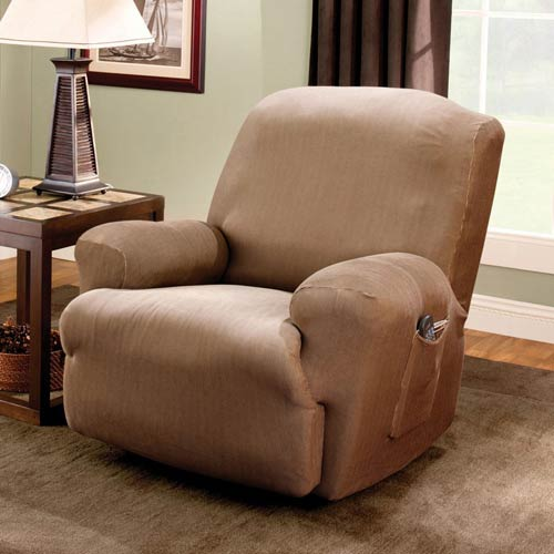 Sure Fit Brown Stretch Stripe Recliner Slipcover