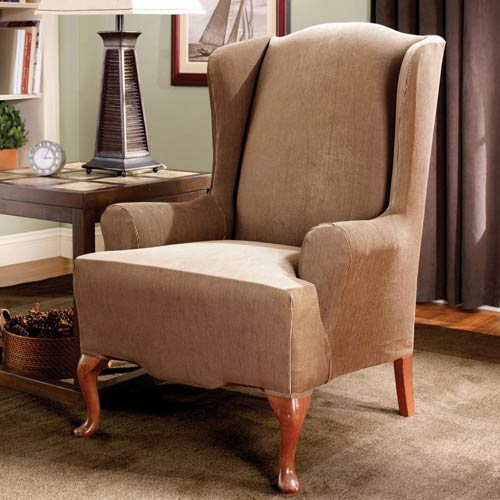 Sure Fit Brown Stretch Stripe Wing Chair Slipcover
