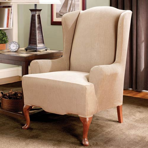 Sure Fit Sand Stretch Stripe Wing Chair Slipcover