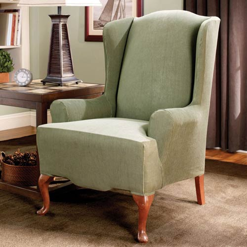 Sage Stretch Stripe Wing Chair Slipcover
