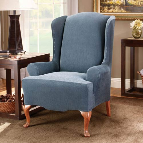 Sure Fit Navy Stretch Stripe Wing Chair Slipcover