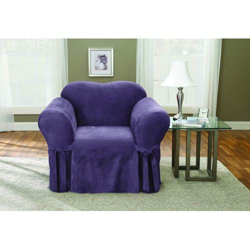 Sure Fit Plum Soft Suede Chair Slipcover