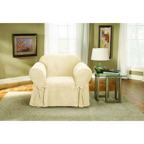 Sure Fit Cream Soft Suede Chair Slipcover