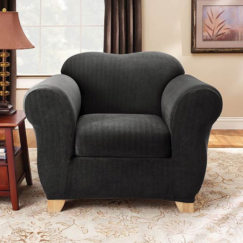 Sure Fit Black Stretch Pinstripe Chair Slipcover