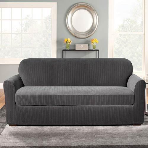 Black Stretch Pinstripe Sofa Slipcover