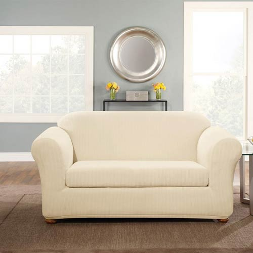 Sure Fit Cream Stretch Pinstripe Loveseat Slipcover