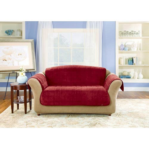Burgundy Deluxe Loveseat Pet Throw Cover