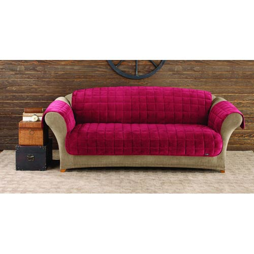 Sure Fit Burgundy Deluxe Sofa Pet Throw Cover 47293394584 Bellacor