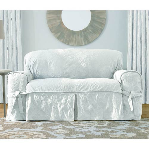 Sure Fit White Matelasse Damask Sofa Slipcover