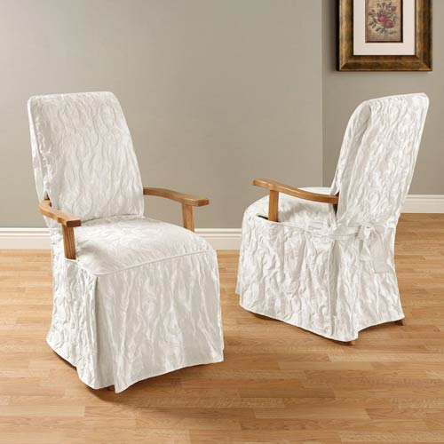White Matelasse Damask Arm Long Dining Chair Cover