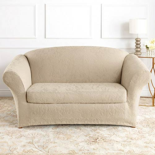 Amazing Sure Fit Ivory Stretch Jacquard Damask Sofa Slipcover Dailytribune Chair Design For Home Dailytribuneorg