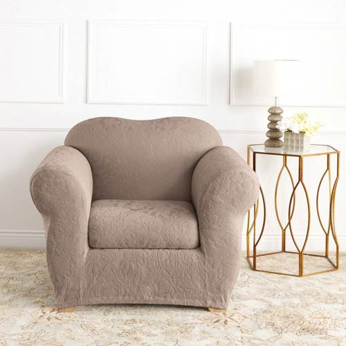Sure Fit Mushroom Stretch Jacquard Damask Chair Slipcover