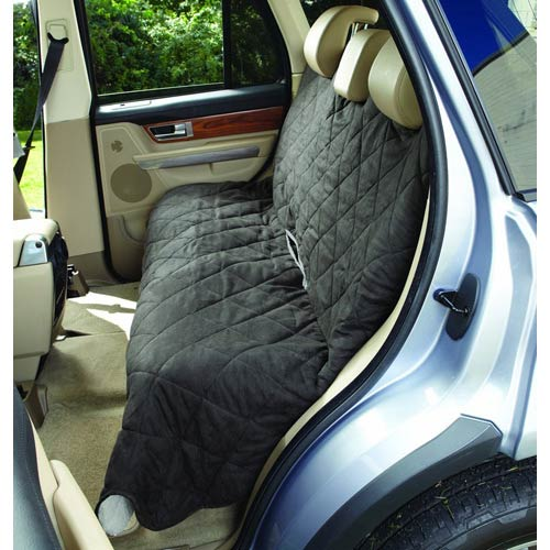 Graphite and Cream Large Soft Suede with Sherpa Reversible Auto Bench Seat