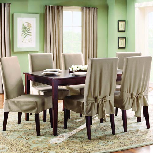 Sure Fit Linen Cotton Duck Short Dining Room Chair Slipcover