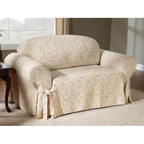 Sure Fit Champagne Scroll Sofa Slipcover