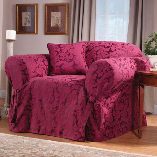 Burgundy Scroll Chair Slipcover