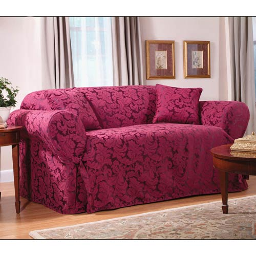 Sure Fit Burgundy Scroll Sofa Slipcover