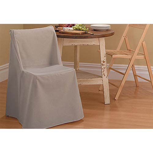Sure Fit Linen Cotton Duck Folding Dining Chair Slipcover
