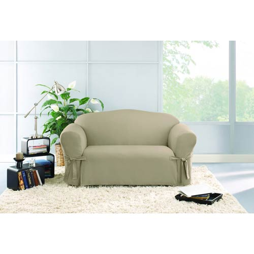Superb Sure Fit Linen Cotton Duck Loveseat Slipcover Squirreltailoven Fun Painted Chair Ideas Images Squirreltailovenorg