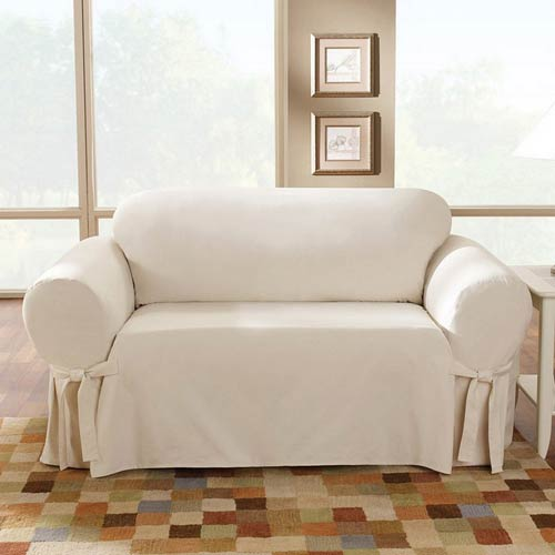 Fabulous Sure Fit Natural Cotton Duck Loveseat Slipcover Ncnpc Chair Design For Home Ncnpcorg