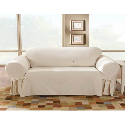Sure Fit Natural Cotton Duck Sofa Slipcover