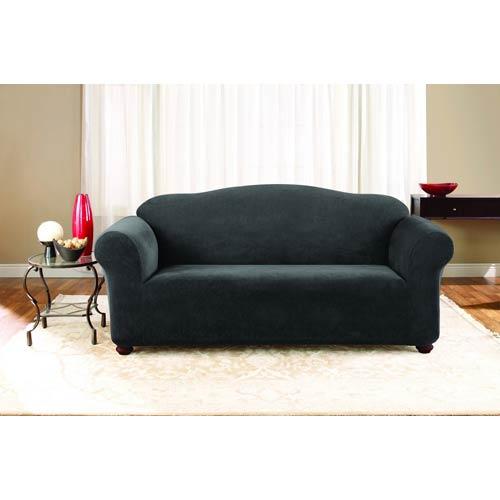 Black Stretch Pique Sofa Slipcover
