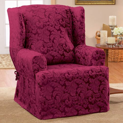 Fabulous Sure Fit Burgundy Scroll Wing Chair Slipcover Machost Co Dining Chair Design Ideas Machostcouk
