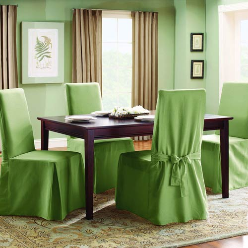 Dining Room Chair Loose Covers sure fit sage cotton duck long dining room chair slipcover