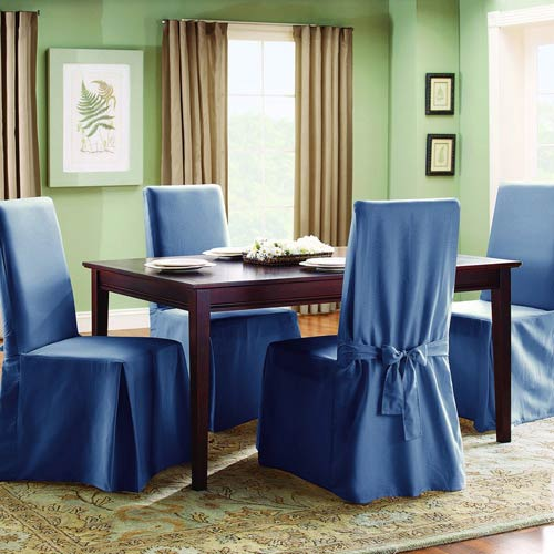 Sure Fit Bluestone Cotton Duck Long Dining Room Chair Slipcover