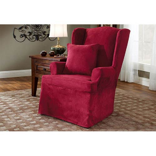 Prime Sure Fit Burgundy Soft Suede Wing Chair Slipcover Machost Co Dining Chair Design Ideas Machostcouk