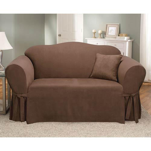 Sure Fit Chocolate Soft Suede Loveseat Slipcover