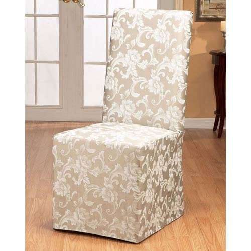 Sure Fit Champagne Scroll Dining Room Chair Cover