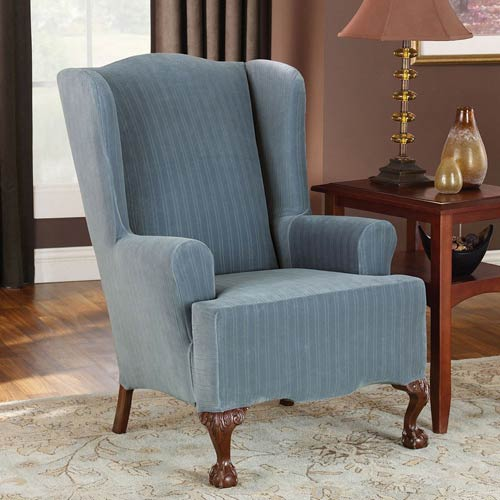 French Blue Stretch Pinstripe Wing Chair Slipcover