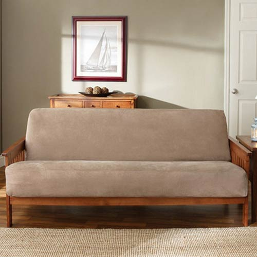 Sure Fit Taupe Soft Suede Futon Slipcover